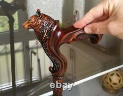 Original Gc-artis Wooden Wolf Walking Stick Cane Ergonomic Palm Grip Handle Rh
