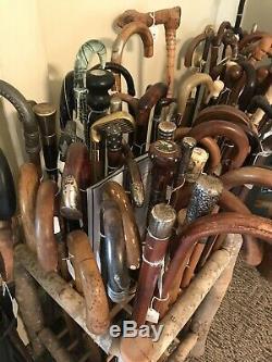 Os Epée En Bois Sculpté Bâton Canne Antique Vieux Lot Baleine En Argent Sterling