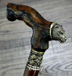 Ours Bois Oak Foudre Bronze Canes Bâtons De Marche En Bois Accessoires De Canne