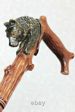 Ours De Bâton De Marche Sur Une Canne En Bois D'arbre Bâton De Marche Main Bâton Sculpté