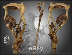 Ours Gazelle Bois Main Du Personnel De La Randonnée De Canne À Canne Sculptée Confortable