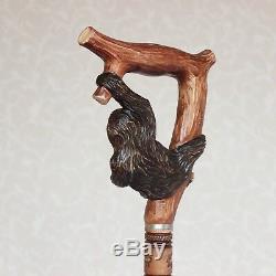 Personnalisé Canne Avec Poignée Sloth Main En Bois Sculpté Et Arbre Randonnée Bâton En Bois