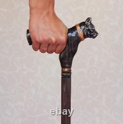 Pitbull Black Wooden Dog Walking Stick Cane Main Sculpté Bâtons De Randonnée Faits À La Main
