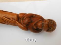 Poignée De Canne De Bâton De Pied De Singe En Bois Sculptée De Qualité Vintage Super Antique