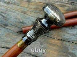 Poignée De Tête En Laiton Royal Knob Style Vintage Bâton De Marche En Bois