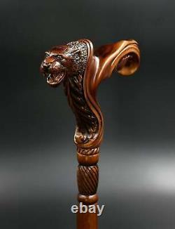 Poignée Ergonomique De Poignée De Paume Jaguar Bâton De Marche De Canne En Bois