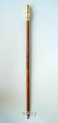Poignée Nautique De Tête De Télescope De Laiton Spyglass Avec La Canne En Bois De Bâton De Marche