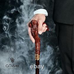 Poignée Sculptée De Cocker D'épagneul De Bâton De Canne À Pied En Bois Pour Des Hommes