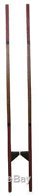 Primitive Antique Peint Pin Stilts Art Populaire Bâtons De Marche En Bois 60