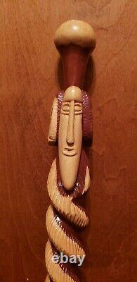 Rare Vintage- One Of A Kind Hand Carved Wooden Walking Stick/cane! Belle