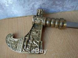 Rare Vintage Sculpté En Bois De Canne Bâton De Marche Avec Un Couteau Ouvert Poignée Bronze