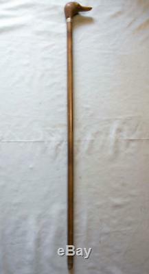Robe Vintage En Bois Canne / Bâton Avec Dessus De Tête De Canard