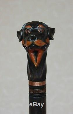 Rottweiler Bâton De Marche Chien Avec Manche En Bois Sculpté À La Main À La Main Canne En Bois
