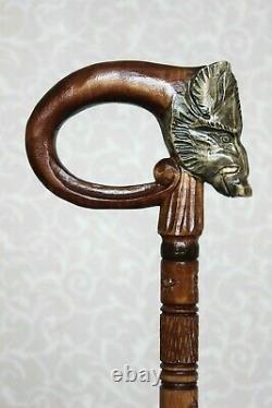 Sanglier Wooden Walking Stick Canne Handmade Carved Canne Personnel De Randonnée