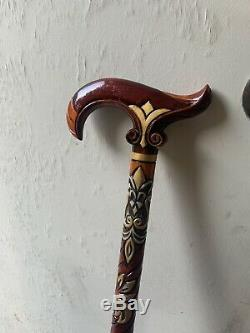 Sculpté À La Main En Bois Vintage Marchant Main Canne Peint Bâton / Canne