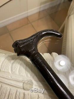 Sculpté En Bois Marche Main Unique Bâton Canes Poignée Couteau Très Ouverte Rare