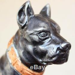 Sculpté Walking Dog Pitbull En Bois Noir Bâton De Canne À La Main À La Main Des Bâtons De Randonnée