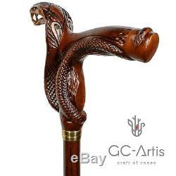 Serpent En Bois Marche Canne Bâton Cobra Pour Homme Femme Dames Main Gent Sculpté