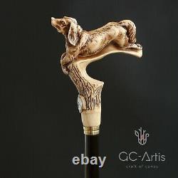 Spaniel Dog Walking Stick Cane Light Wood & Arbre En Bois Noir Antique Style