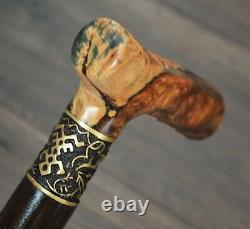Stabilisé Hybride Burl Poignée En Bois Canne Handmade Walking Stick # A 1