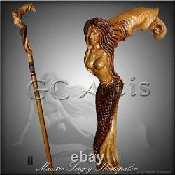 Syren Crying Mermaid Cane Walking Stick Fantasy Canne En Bois
