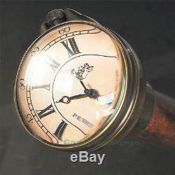 Temps Compagnon Bâton De Marche Avec Montre Horloge Gentleman En Bois Randonnée De Canne Nouveau