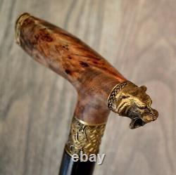 Tiger Stabilisé Burl Poignée En Bois Main Canne Walking Stick # A12
