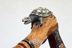 Tortue Sculptée Main Canne Bâton De Marche En Bois Avec Poignée Artisanale