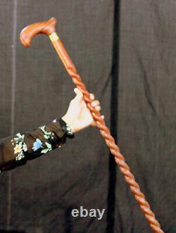Une Pièce Spiral Bâton De Marche En Bois 36 Pouces Unisex Main Sculpté Bâton De Marche