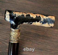 Unique Walking Cane Walking Stick Wooden Handmade Bronze Parts Stabilisé Burl