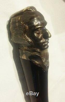 Uruguay José Gervasio Artigas Rare Originale Canne Bâton En Bois Et Bronze