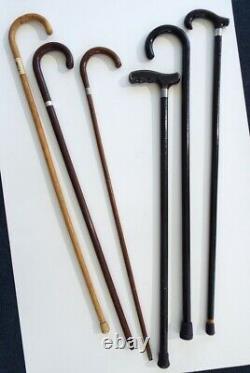 Vieille Collection De Canne En Bois Sterling Band Bp Feed Walking Stick Estate Lot