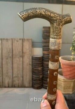 Vieux Indien Antique En Bois Fabriqué À La Main Argenté Travail Vieil Homme Bâton De Marche