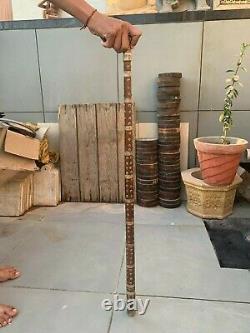 Vieux Vieux Indien En Bois Fabriqué À La Main Argent Travail De Fleur Vieux Homme Bâton De Marche