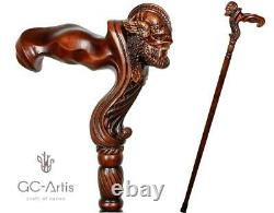 Viking Warrior Bâton De Canne À Pied En Bois Ergonomique Poignée De Palmier Walking Cane