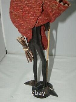 Vintage African Main Sculpté Bois Homme En Bois Avec Bâton De Roulement Figure 12 1/2
