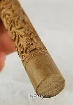 Vintage Antique Indian Sculpté Umbrella Export De Canne En Bois Poignée Bâton De Marche