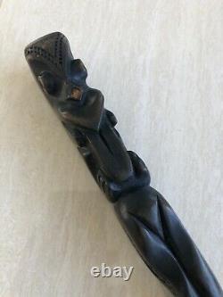 Vintage Antique Maori Sculpté Bâton De Marche En Bois Cane Tiki Dieu Polynésien Art