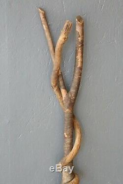 Vintage Arbre Antique Bois Bâton De Marche Canne Branch Serpent Bâton En Bois