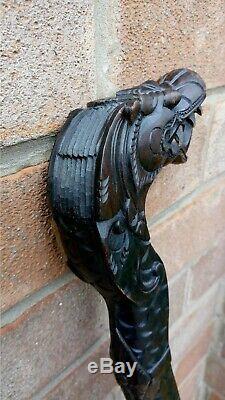 Vintage Dragon Sculpté Manche En Bois Canne / Canne De 38 Pouces / 97 CM