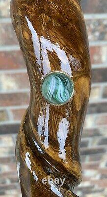 Vintage Folkart Fait Main En Bois Walking / Hiking Stick Withunique Antique Marbles