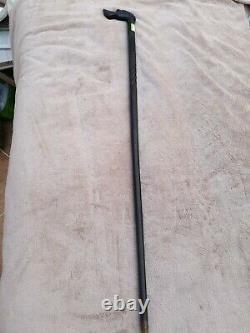 Vintage Noir Ebene En Bois Walking Embrossed Stick Canne Sang Hound Tête De Chien