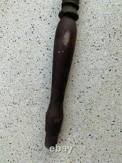 Vintage Old Iron Hand Forged Top & Wooden Handle Shepherd's Axe Walking Stick