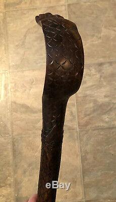 Vintage Serpent Cobra En Bois Sculpté Bâton De Marche 39
