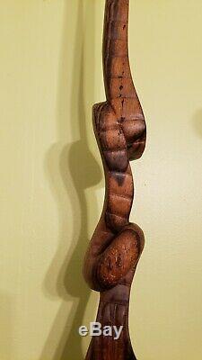 Vtg Bâton De Marche En Bois Poignée Main Tête D'aigle Sculpté À La Main Soutien Canes