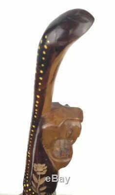 Vtg Main En Bois Sculpté 40 Lion Serpent Men Walking Bâton Canne Made In Jamaica