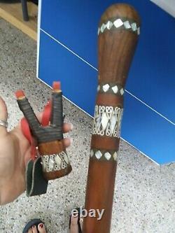 Vtg Mother Of Pearl Inlaid Egyptian Ebony Wooden Walking Cane Stick Slingshot