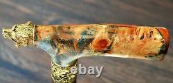 Walking Cane Grizzly Walking Stick Wooden Handmade Bronze Parts Stabilisé Burl