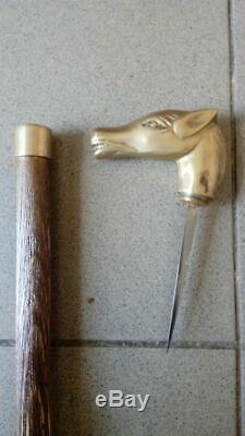 Walking Vintage Bâton De Canne En Bois Avec Un Couteau Ouvert Poignée
