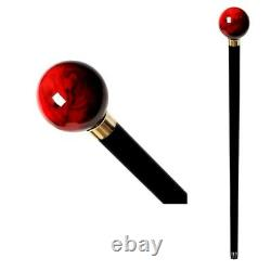 Walking-stick-cane Wooden Handmade With Handle Gift Red Ball Walking-cane Canes